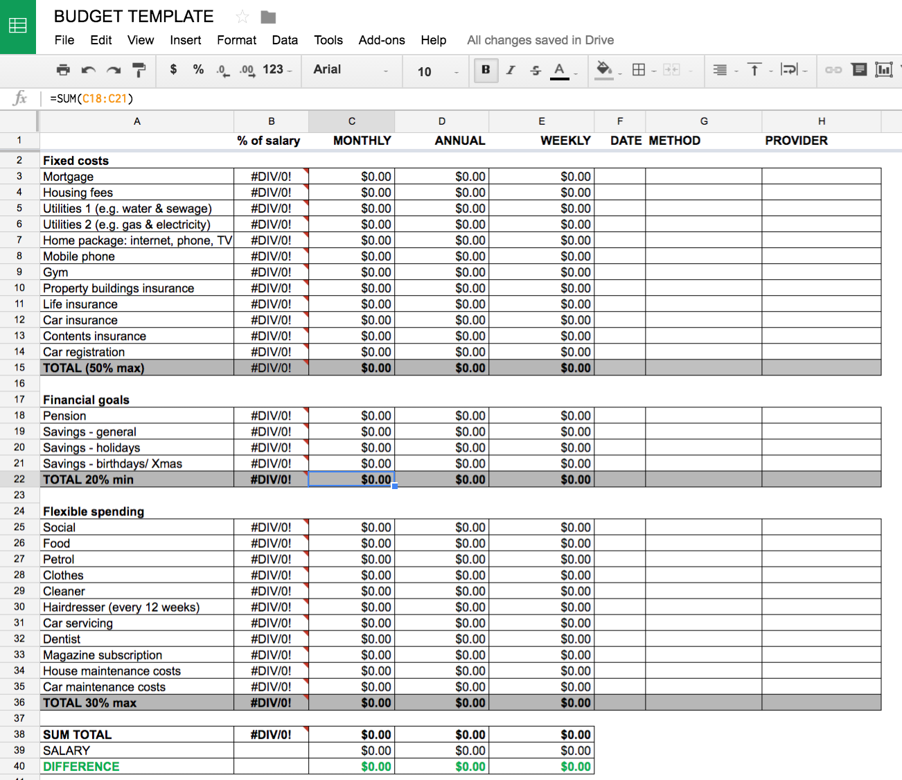 My budget template in Google Docs